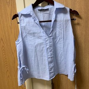 ZARA Basic blue collared shirt with side bows